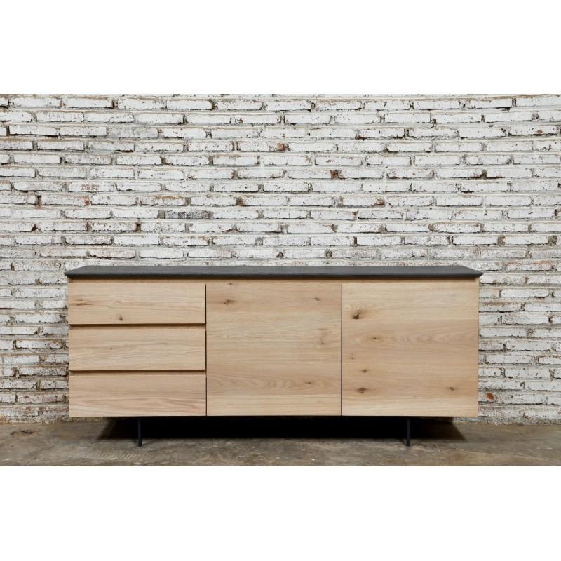 Buffet enfilade bas design 2 portes 3 tiroirs ADRIA en chêne massif (chêne naturel) - image 36058