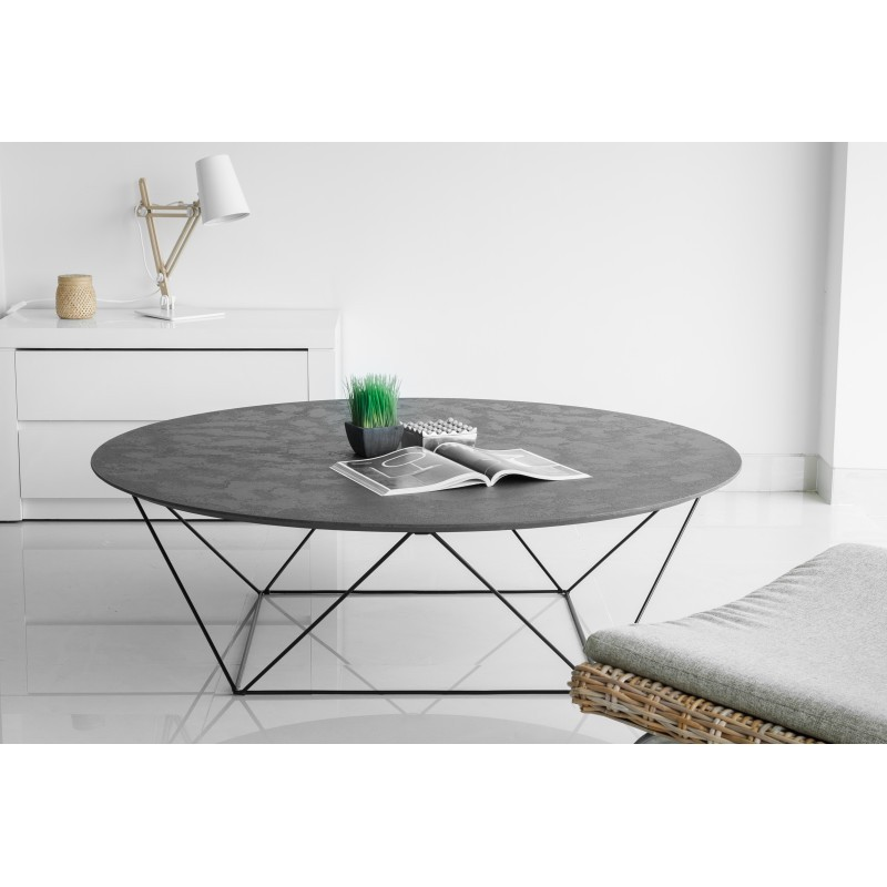 table basse ronde industrielle tania en rev tement min ral noir. Black Bedroom Furniture Sets. Home Design Ideas