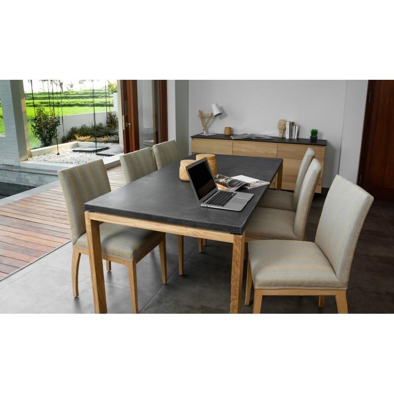 Table à manger contemporaine BOUBA en chêne massif et revêtement minéral (chêne, noir) - image 36078
