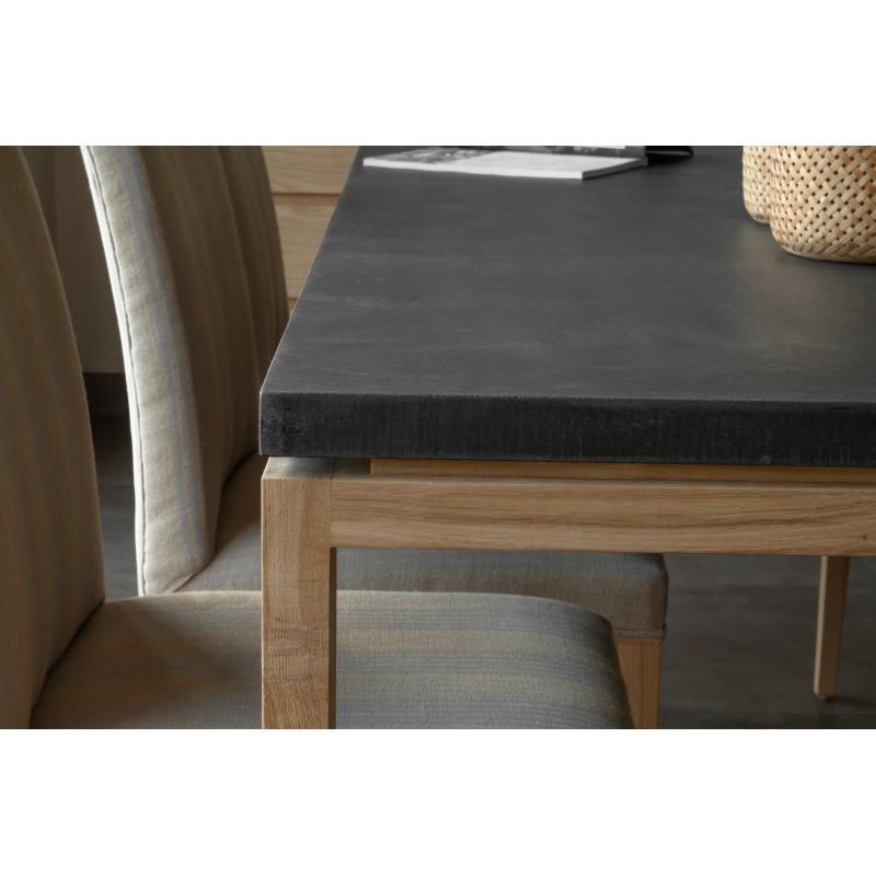 Table à manger contemporaine BOUBA en chêne massif et revêtement minéral (chêne, noir) - image 36081