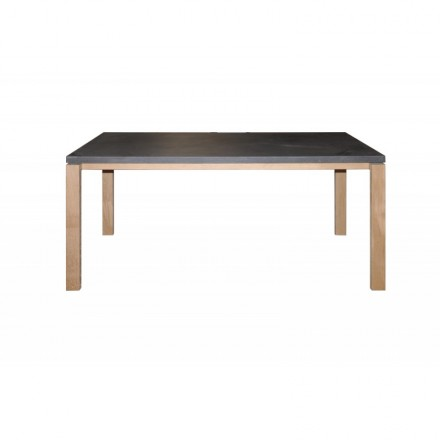 Dining table contemporary BOUBA in solid oak and mineral coating (oak natural, black)
