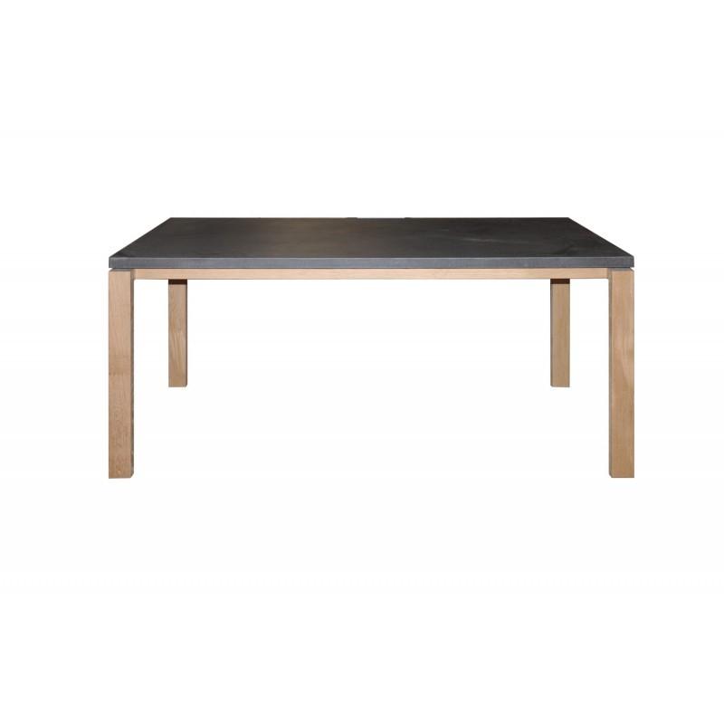 Table à manger contemporaine BOUBA en chêne massif et revêtement minéral (chêne, noir) - image 36084