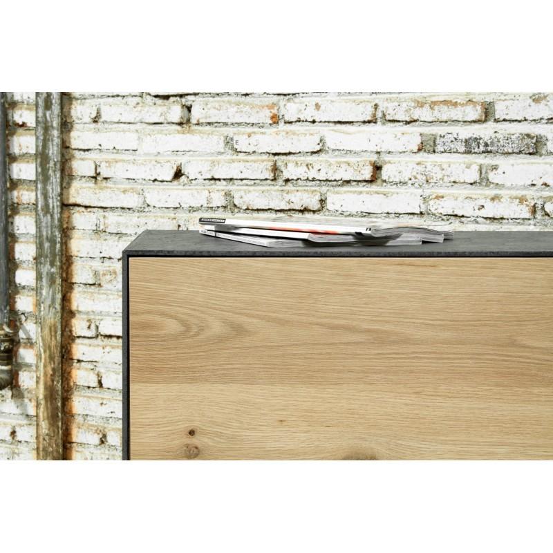 Buffet enfilade 3 portes contemporain BOUBA en chêne massif et revêtement minéral (chêne, noir) - image 36087