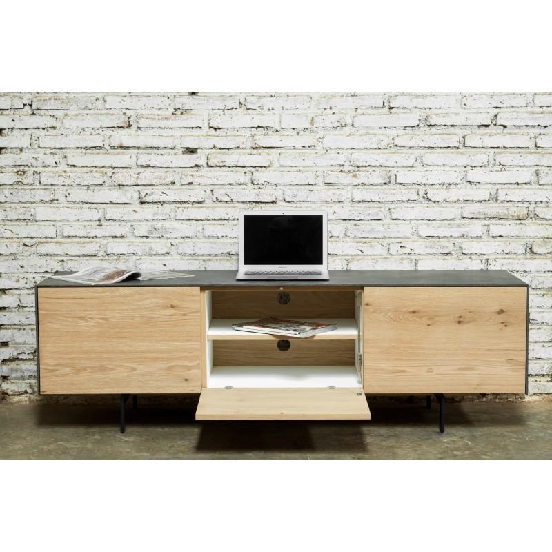 Meuble TV bas contemporain 2 portes 1 tiroir BOUBA en chêne massif et revêtement minéral (chêne naturel, noir) - image 36096
