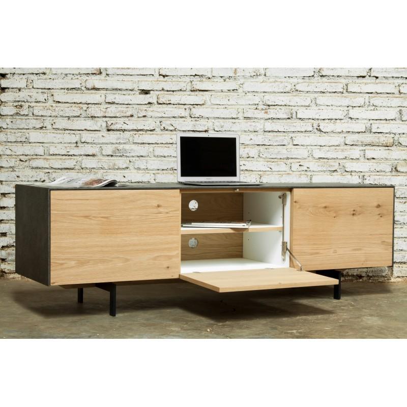 Meuble TV bas contemporain 2 portes 1 tiroir BOUBA en chêne massif et revêtement minéral (chêne naturel, noir) - image 36097