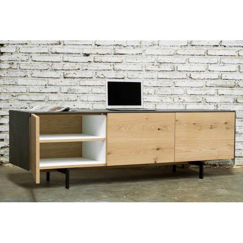 Meuble TV bas contemporain 2 portes 1 tiroir BOUBA en chêne massif et revêtement minéral (chêne naturel, noir) - image 36098