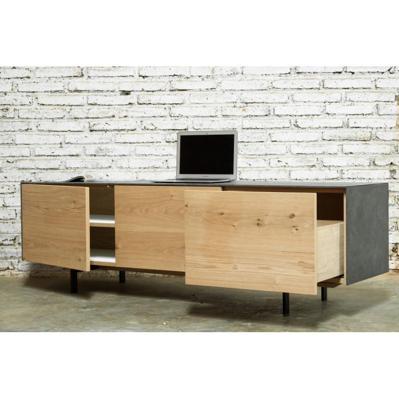 Meuble TV bas contemporain 2 portes 1 tiroir BOUBA en chêne massif et revêtement minéral (chêne naturel, noir) - image 36099