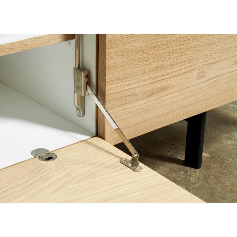Meuble TV bas contemporain 2 portes 1 tiroir BOUBA en chêne massif et revêtement minéral (chêne naturel, noir) - image 36102
