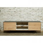 Furnished contemporary low TV 1 door 1 drawer 2 niches BOUBA in solid oak and mineral coating (oak natural, black)