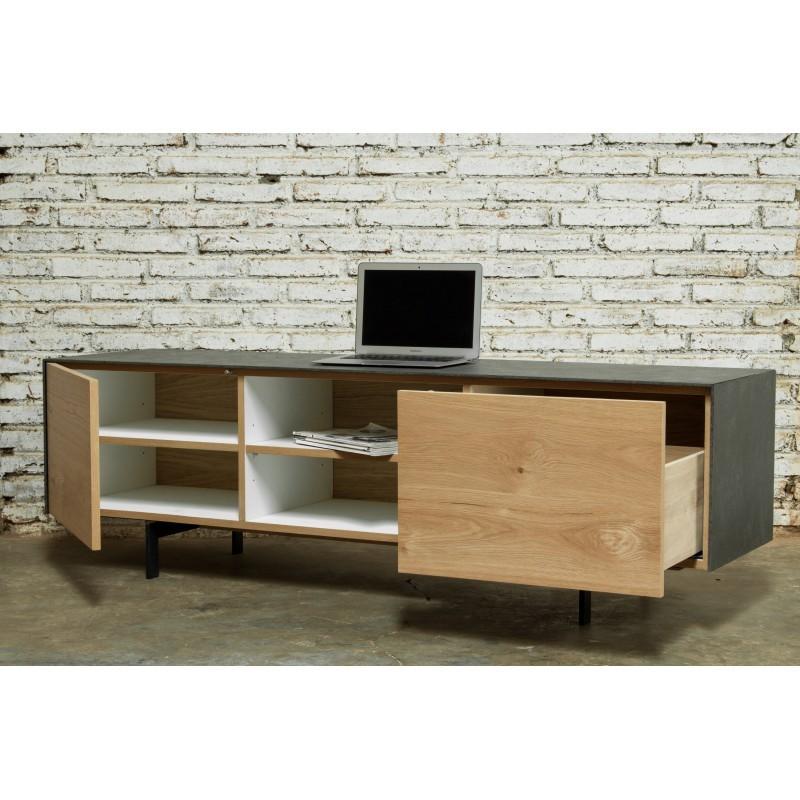 Meuble TV bas contemporain 1 porte 1 tiroir 2 niches BOUBA en chêne massif et revêtement minéral (chêne naturel, noir) - image 36105