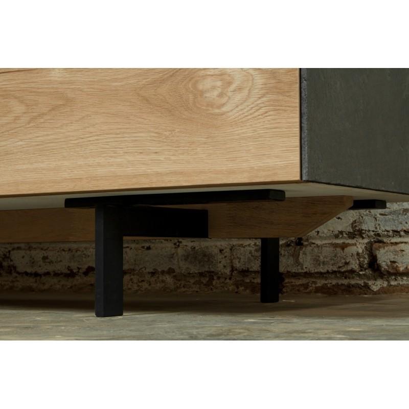 Meuble TV bas contemporain 1 porte 1 tiroir 2 niches BOUBA en chêne massif et revêtement minéral (chêne naturel, noir) - image 36110