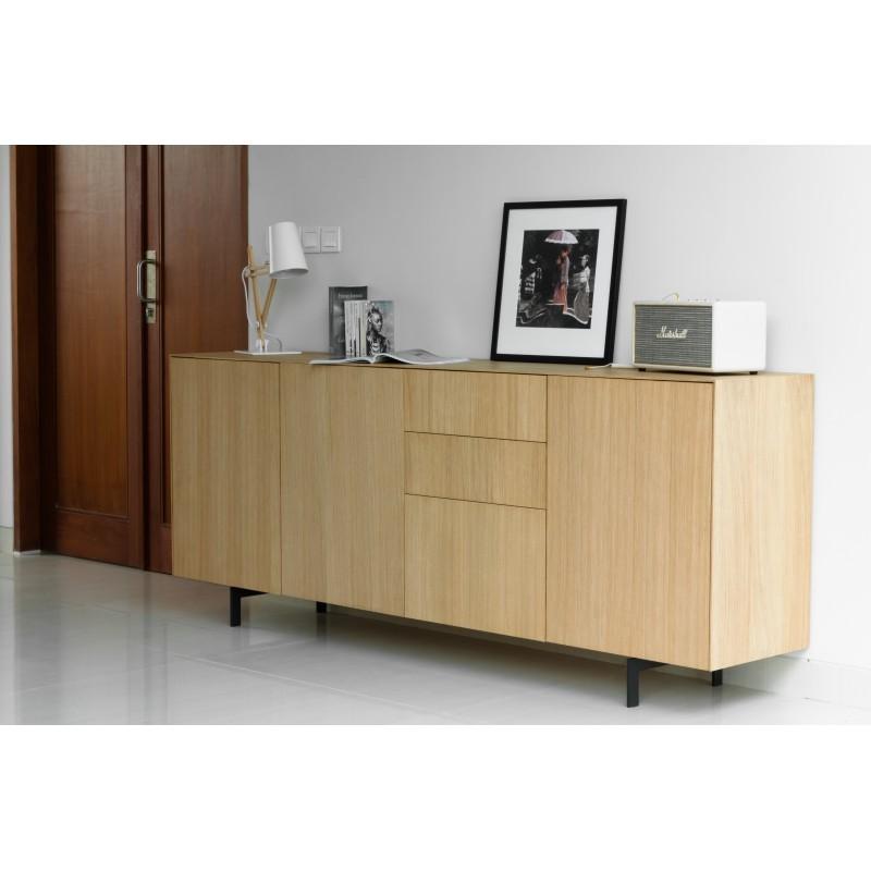 Buffet enfilade 3 portes 3 tiroirs contemporain FIFI en chêne massif (chêne naturel) - image 36114