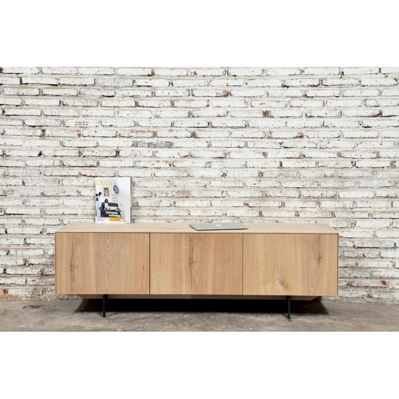 Meuble TV bas contemporain 2 portes 1 tiroir FIFI en chêne massif (chêne naturel) - image 36117