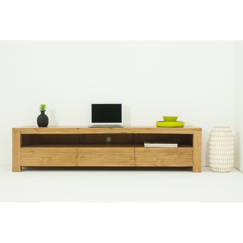 meuble tv bas contemporain 170 cm alisa en teck massif naturel. Black Bedroom Furniture Sets. Home Design Ideas