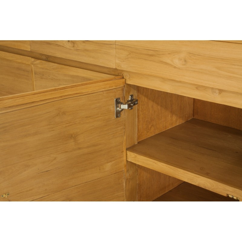 Buffet enfilade contemporain 4 portes 4 tiroirs ANATOLY en teck massif (naturel) - image 36147