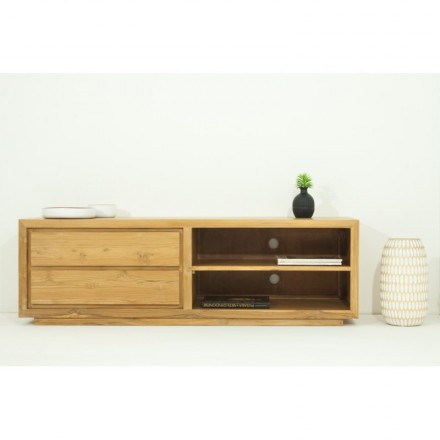 Contemporary Low Tv 2 Niches 2 Drawers Elena Natural Massive Teak Furniture Amp Story 5395