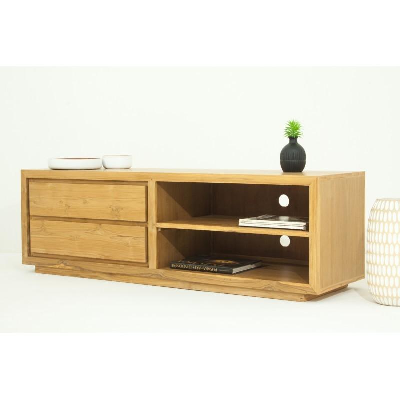 meuble tv bas contemporain 2 niches 2 tiroirs elena en teck massif naturel. Black Bedroom Furniture Sets. Home Design Ideas