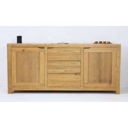 Buffet contemporary row 2 doors 3 drawers MARFA (natural) massive teak
