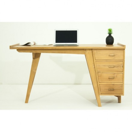 Desk 4 drawers design and contemporary MISHA (natural) massive teak
