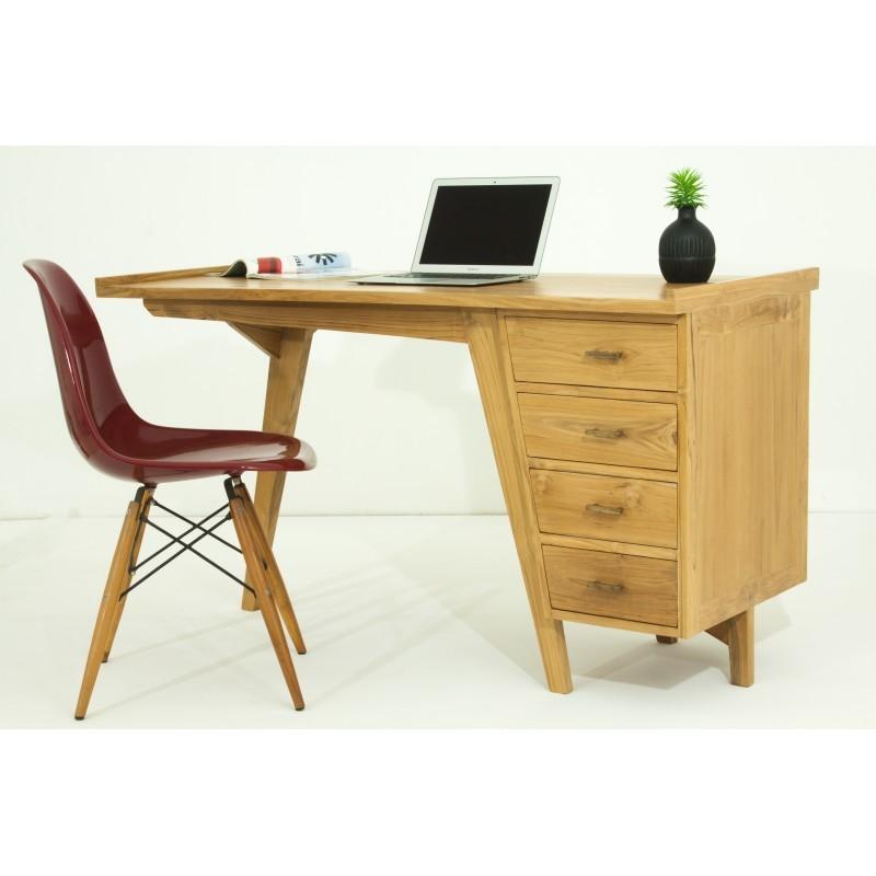 Bureau droit 4 tiroirs design et contemporain MISHA en teck massif (naturel) - image 36186