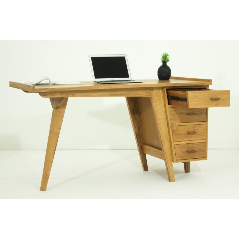 Bureau droit 4 tiroirs design et contemporain MISHA en teck massif (naturel) - image 36187