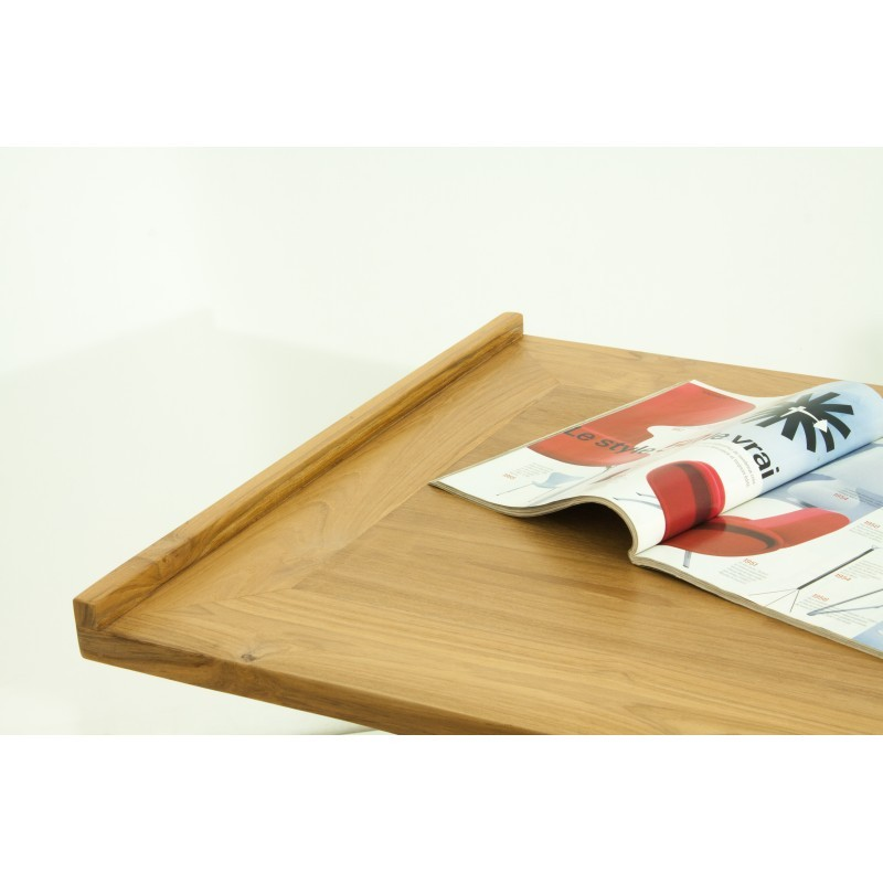Bureau droit 4 tiroirs design et contemporain MISHA en teck massif (naturel) - image 36189