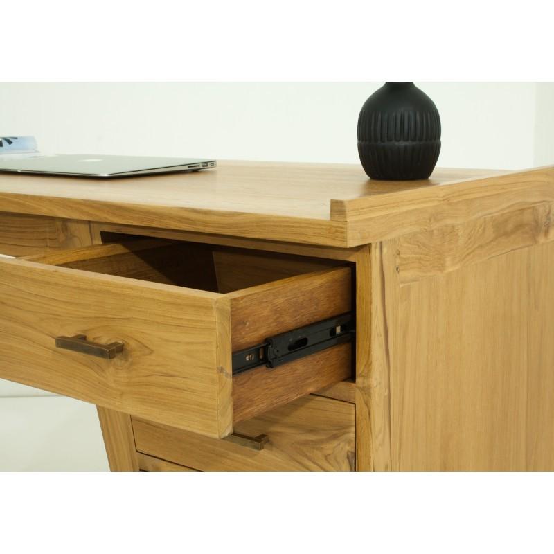 Bureau droit 4 tiroirs design et contemporain MISHA en teck massif (naturel) - image 36191