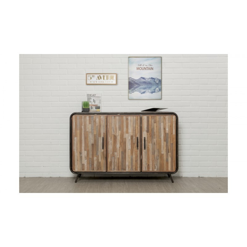 Buffet-Zeile 3 140 cm BENOIT massive Teak recycelbare industrielle und Metall Türen - image 36197