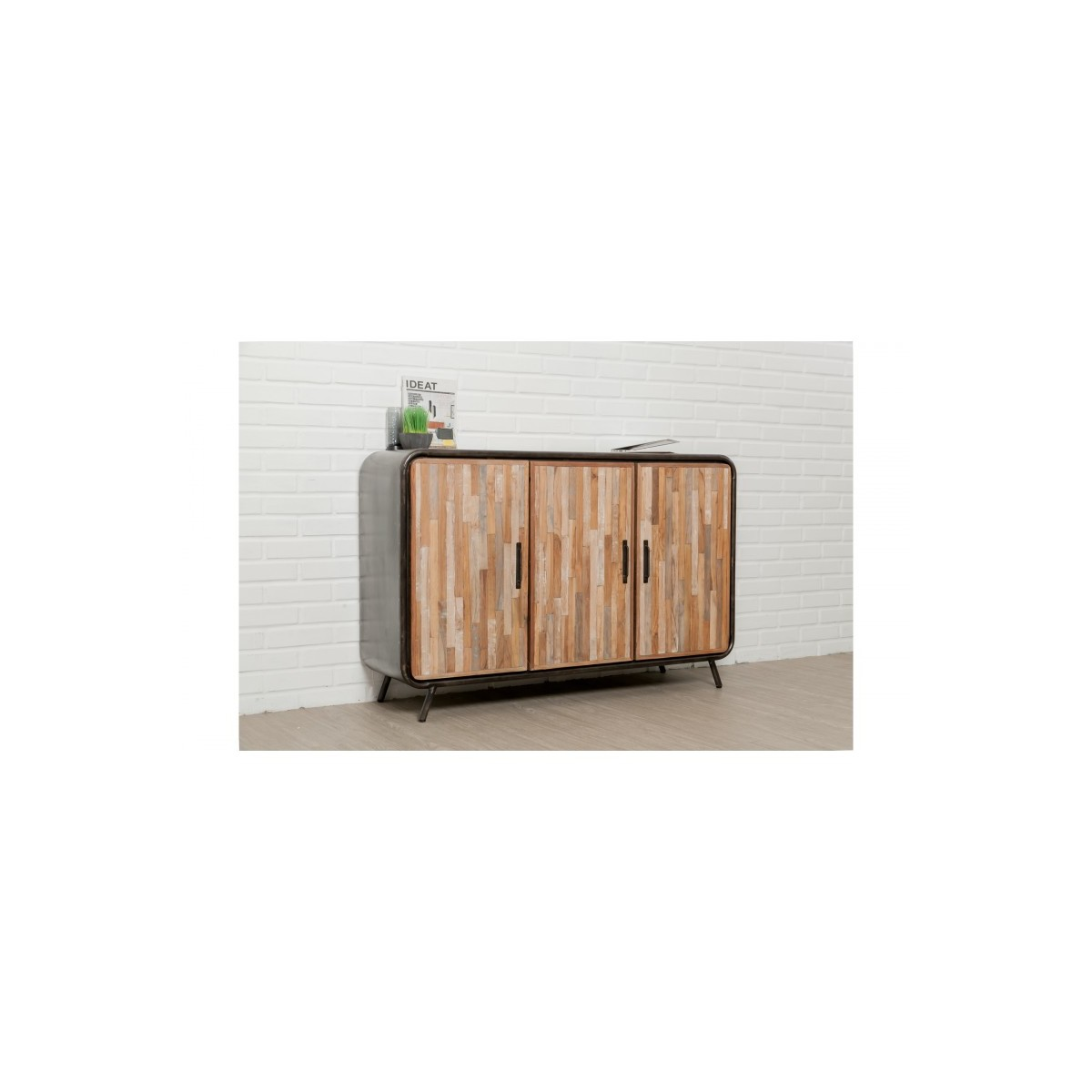buffet enfilade 3 portes industriel 140 cm benoit en teck massif recycle et metal amp story 5401