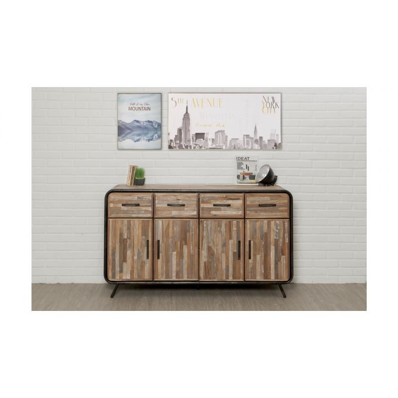 Buffet enfilade 4 portes 4 tiroirs industriel 160 cm BENOIT en teck massif recyclé et métal - image 36201
