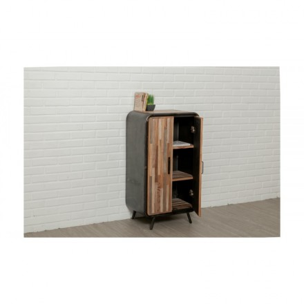 meuble de rangement haut industriel 60 cm benoit en teck massif recycl et m tal. Black Bedroom Furniture Sets. Home Design Ideas