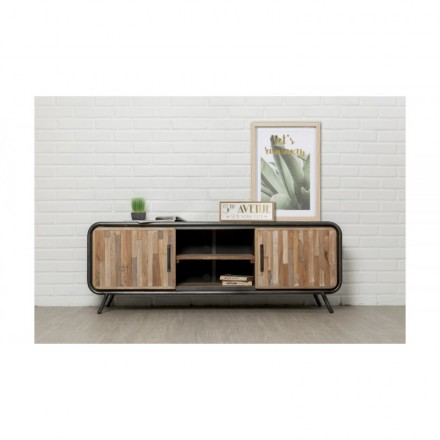 Low TV 2 doors 2 industrial niches 150 cm BENOIT massive teak recycled and metal stand