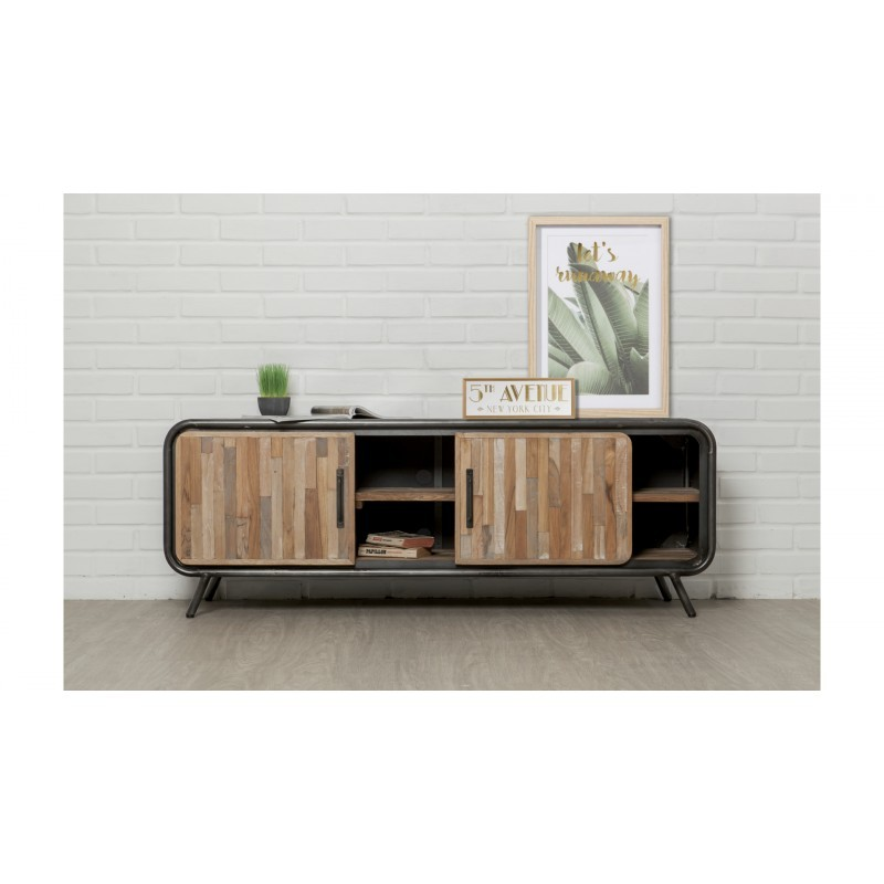Low TV 2 doors 2 industrial niches 150 cm BENOIT massive teak recycled and metal stand - image 36213