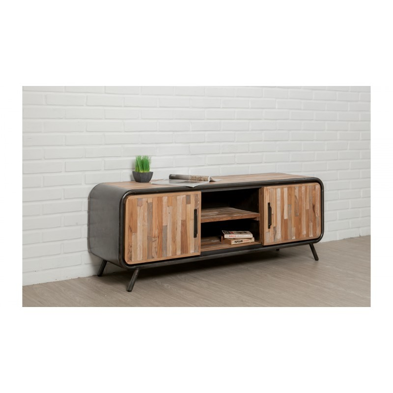 Low TV 2 doors 2 industrial niches 150 cm BENOIT massive teak recycled and metal stand - image 36214