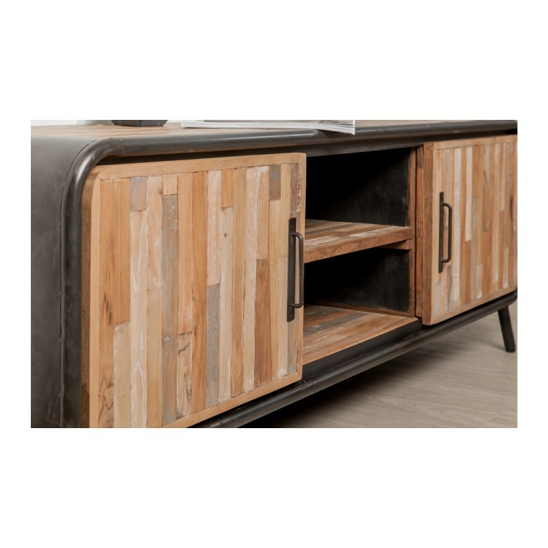 Low TV 2 doors 2 industrial niches 150 cm BENOIT massive teak recycled and metal stand - image 36218