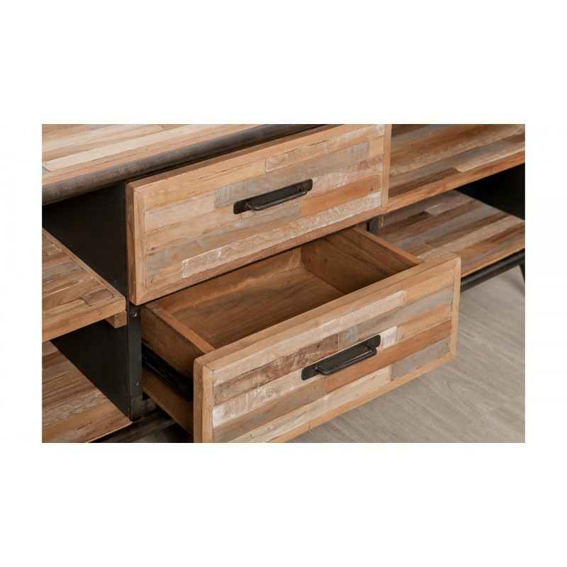 Low TV 2 drawers 4 industrial niches 150 cm BENOIT massive teak recycled and metal stand - image 36222