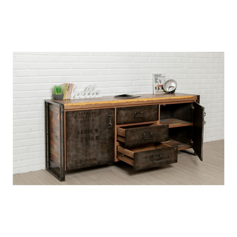 Buffet row 2 doors 3 drawers industrial 190 cm NOAH massive teak recycled and metal - image 36234