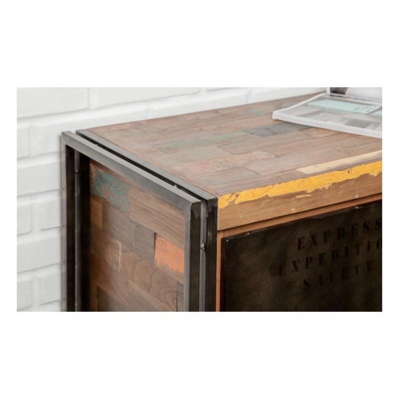 Riga a buffet 2 porte 3 cassetti industriale 190 cm teak massiccio NOAH riciclato e metallo - image 36235