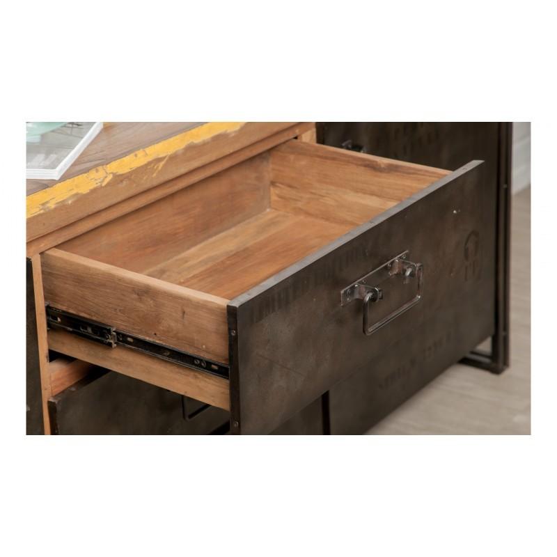 Buffet row 2 doors 3 drawers industrial 190 cm NOAH massive teak recycled and metal - image 36236
