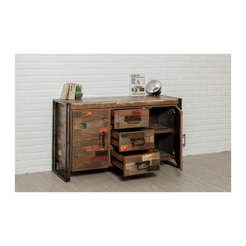 zeile 2 t ren 3 schubladen industrielle 140 cm noah massiven teak recycelt und metall buffet. Black Bedroom Furniture Sets. Home Design Ideas