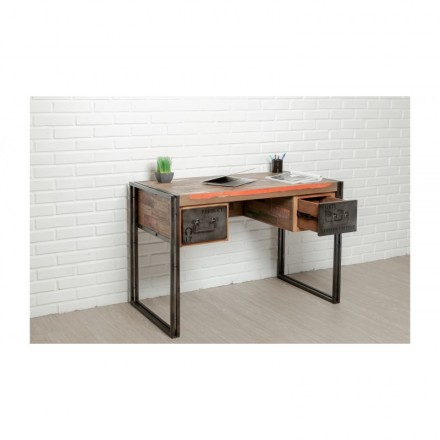 Industrial right office 120 cm NOAH massive teak recycled and metal