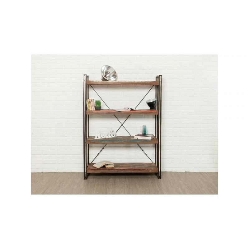 Regal 120 cm NOAH massiven Teak recycelt und Metall-Industrie-Bibliothek - image 36246