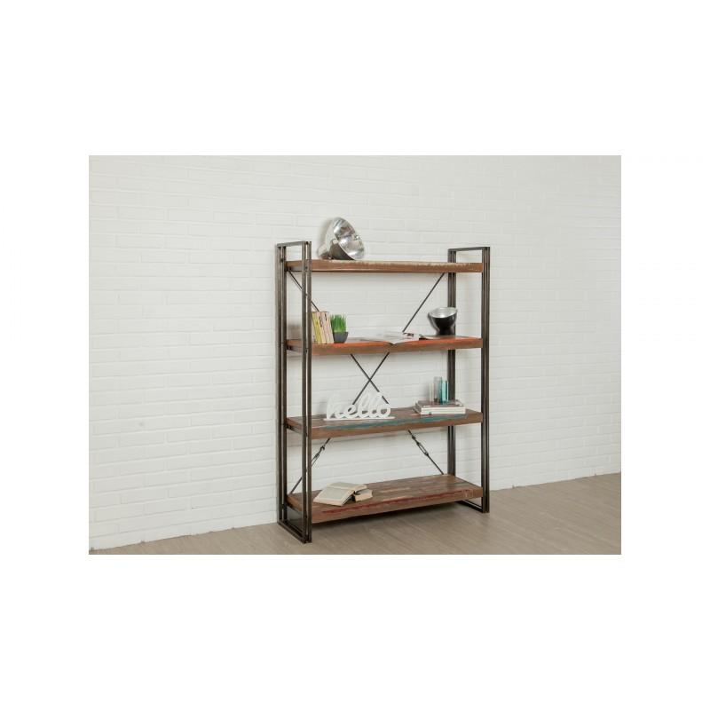 Mensola 120cm NOAH massiccia teak riciclato e metallo industriale biblioteca - image 36247