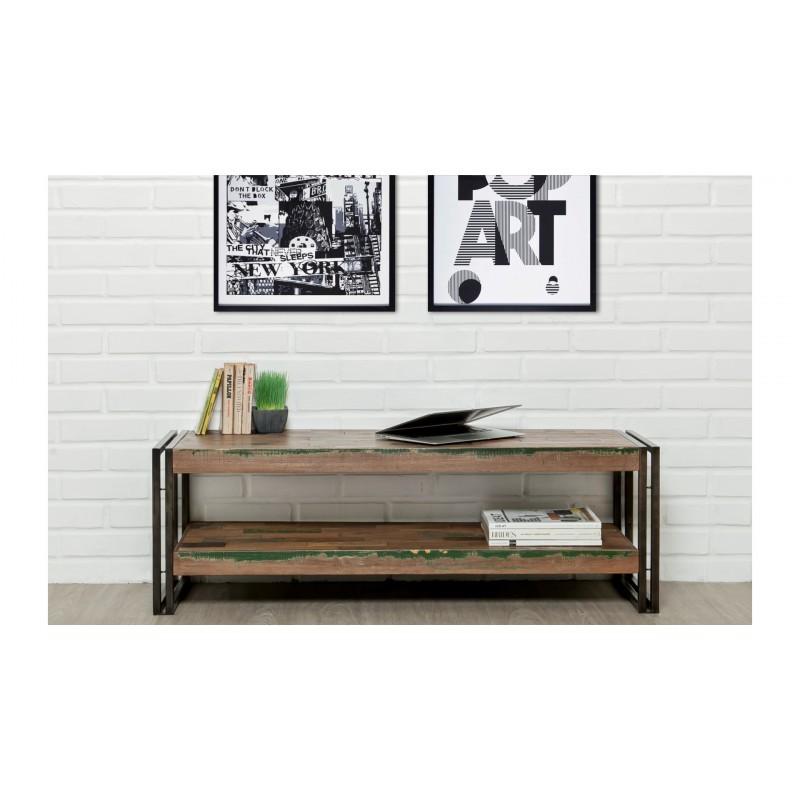 meuble tv bas 2 plateaux industriel 120 cm noah en teck massif recycl et m tal. Black Bedroom Furniture Sets. Home Design Ideas