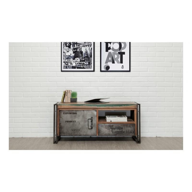 meuble tv bas 1 porte 1 niche 1 tiroir industriel 110 cm noah en teck massif recycl et m tal. Black Bedroom Furniture Sets. Home Design Ideas