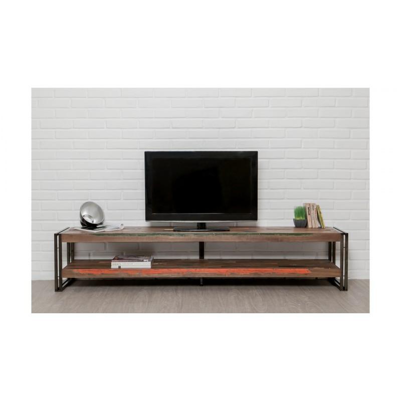 Meuble TV bas 2 plateaux industriel 200 cm NOAH en teck massif recyclé et métal - image 36264