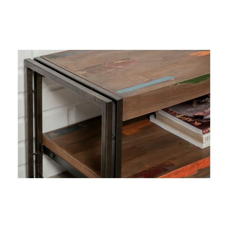 Low TV 2 vassoi industriali 200 cm teak massiccio NOAH riciclato e metallo stand - image 36266