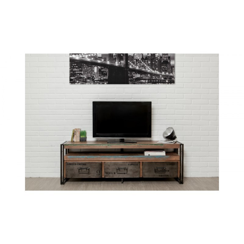 meuble tv bas 3 tiroirs 1 niche industriel 160 cm noah en. Black Bedroom Furniture Sets. Home Design Ideas