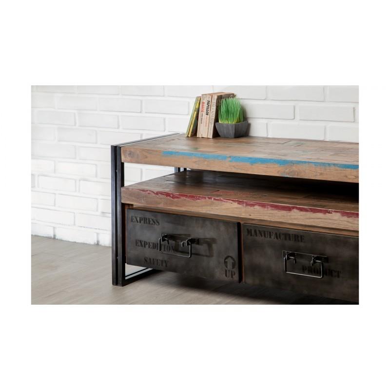 meuble tv bas 3 tiroirs 1 niche industriel 160 cm noah en teck massif recycl et m tal. Black Bedroom Furniture Sets. Home Design Ideas