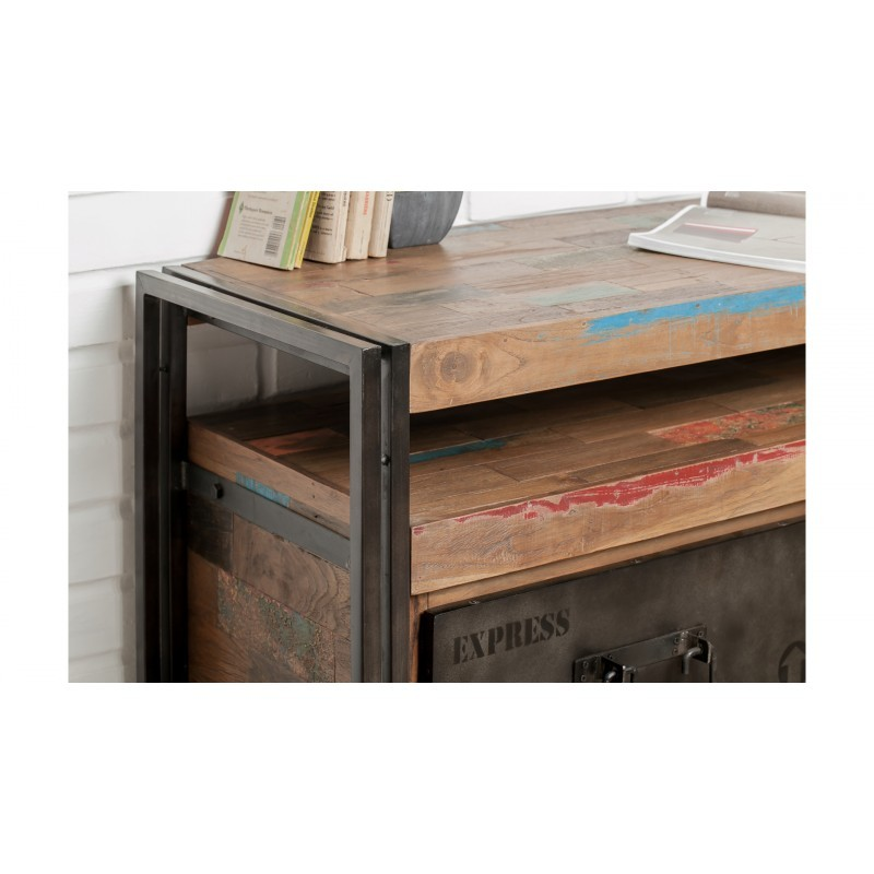 Furnished 3 drawers 1 low TV niche 160 cm NOAH massive teak recycled industrial and metal - image 36281